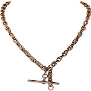 Victorian English Rose Gold Watch Chain Necklace Double Albert