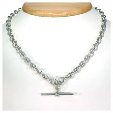 Victorian Sterling Silver Watch Chain Necklace T Bar