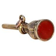 Victorian Carnelian 15k Gold Watch Key Fob Pendant