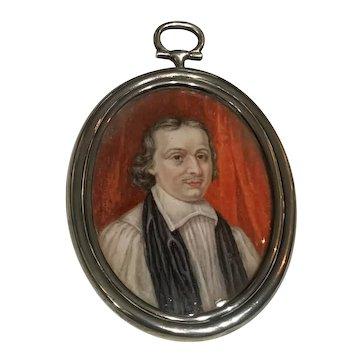 Miniature Painting of Robert Leighton Archbishop of Glasgow 1611-1684 in Sterling locket