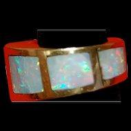 Fantastic Custom Modernist Australian Opal Ring 14 Kt