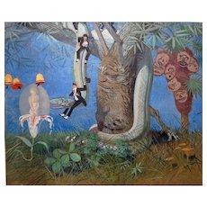 """Julius Moessel """"Fantasy """" Vintage Oil on Canvas *Listed California Artist"""