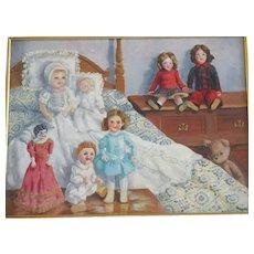 HELENE MORRIS Oil on Canvas of Dolls circa 1960s