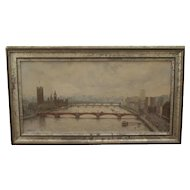 The THAMES at WESTMINSTER- Superb oil by John Lewis Chapman