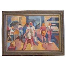 "Raymond Cuevas Org. Painting by listed CA artist ""Los Angeles Street"""
