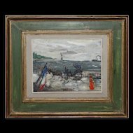 GABRIEL DAUCHOT-French Impressionst-Oil Painting-Parisian Waterfont Landscape