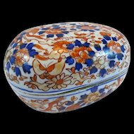Rare Meiji Period Kutani / Imari Oval Shaped Covered Box