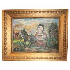"Spectacular David Burliuk (1882-1967) Oil   ""Woman with Donkey"""