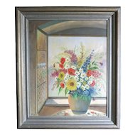 Org Oil on Canvas by Esgen dated 1943 Still Life of Flowers in front of a Window