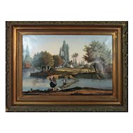 Early 19th Century Oil Painting of Old Country Life