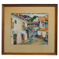 "French Folk Art Artist Elisee Maclet (1881-1962) Mixed Media ""Town Street"""