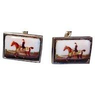 English Equestrian Interest Sterling Silver & Enamel Horse & Rider Cufflinks