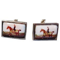 English Equestrian Interest Sterling Silver & Enamel Horse & Rider Cufflinks