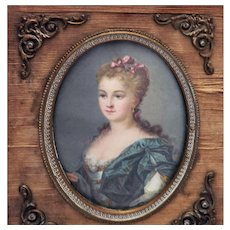 Antique Miniature Painting of Marie Antoinette