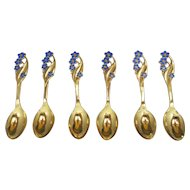 Six (6) Meka Danish Blue Enamel Flowers Silver Coffee Spoons  Denmark C1950
