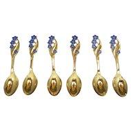 Six (6) Meka Danish Blue Enamel Flowers Silver Coffee Spoons  Denmark C1950