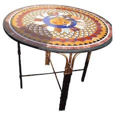 Micro Mosaic Pietra Dura Round Table Top with Custom Bas