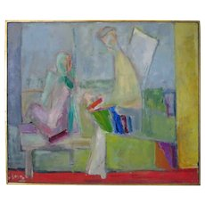 """Rose Kuper (1888-1987) Abstract Modern Cubist Dated 1959 Title """"Progeny"""" New York California"""