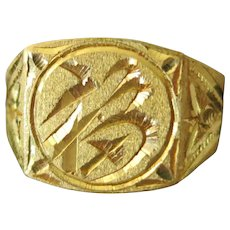 22 kt Gold Man's Thai ring Size 10 1/2