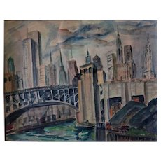Original Chicago Skyline by artist Hazel Cuthburt w/c c. 1930s