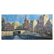 """Large Org John Linn oil painting """"Dutch Canal Scene"""" Holland Mid Century"""