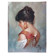 Italian Oil by L. Rossi Young Lady or Girl