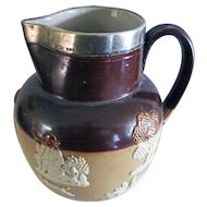 Antique Royal Doulton Brown Stoneware English Hunting Wares Pitcher-Sterling Collar
