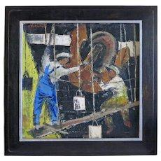 Herb Kornfeld (1915-2001) 1941 Oil of Ship painters WWII