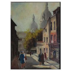 Andrée Michel, 1908-1975 oil on board Paris Street.
