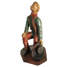 Praying Cowboy Figure SIC Decore Main Wood Carving France French c.1982
