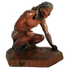 American Indian Figure SIC French Carved Wood c.1982