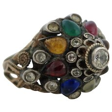 Vintage 14 Kt THAI Princess Harum Ring Set With Semi Precious Stones