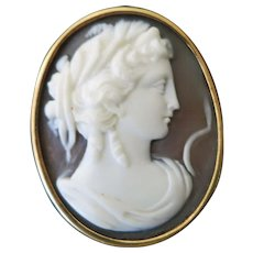 Vintage shell Italian Cameo set in  Gold