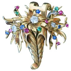 Vintage French 18 Kt Gold Diamond and Gem Stone Cornucopia Brooch