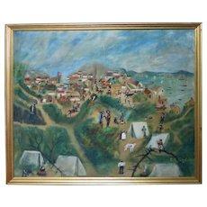 Large Antique primitive oil painting of Old San Francisco