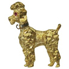 French Poodle  14 Kt yellow Gold with Ruby eyes