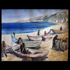 Vintage Greek Fishing Village water color