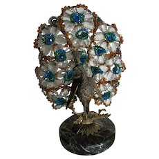 Original Czech Crystal Glass Lamp Bronze Art Deco Peacock Lamp