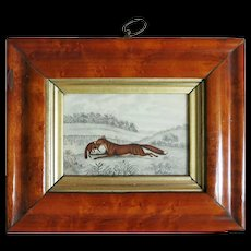 Antique English Pencil and water color Drawing in Pear Wood Frame