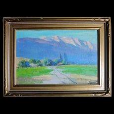 Vintage Florence Young 1872-1974 oil circa 1930s Pasadena mountains.
