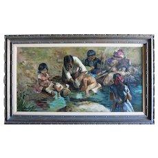"Filastro-Mottola (1915-2008) ""FAMILY WASH"" LargeOrg OilCalifornia Artist"
