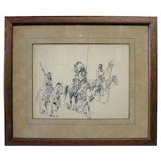 Edward Borein 1872-1945 Org Pen & Ink of 3 American Indians Santa Barbara California