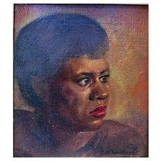 John H. Rockwell Portrait of a Black Girl Los Angeles artist c.1940s