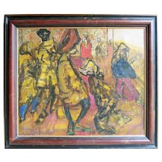 Rare Oil my Polish / British artist Feliks Topolski  (1907 - 1989)