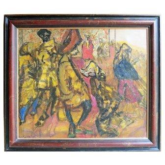 Rare Oil by Polish / British artist Feliks Topolski  (1907 - 1989)