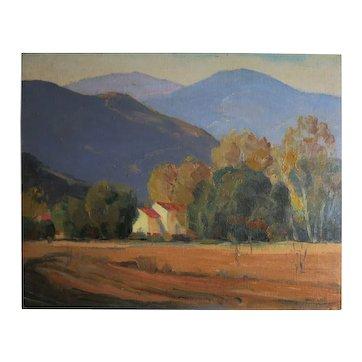 """Walt Lee (188-1980) Original oil titled """"RED ROOFS<MONTROSE CA"""""""