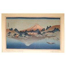"""Antique Katsushiki Hokusai  Wood Block Print """"Refection of Fuji"""""""