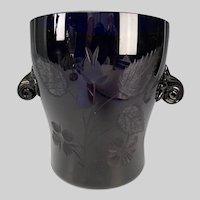 Antique Continental Carved Engraved Cobalt Blue Glass Vase