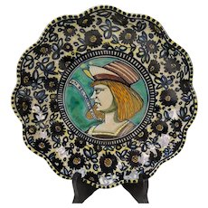 Antique Italian Molaroni Faience Pesaro Pottery Hand Painted Portrait Plate