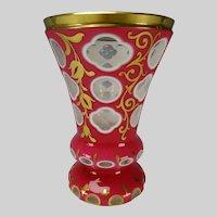 Antique Bohemian Moser Double Overlay Cutback Glass Beaker Vase